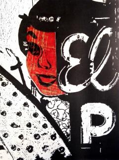 """'Vestigial Vegas, Veiled,' 2014. 18""""x24"""", chiné colle linoleum print."""