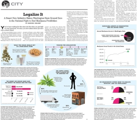Editorial layout with information graphics for The Stranger