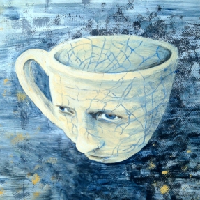 'Face Cup,' 2016. Acrylic on wood panel.