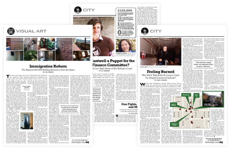 Editorial spreads for The Stranger